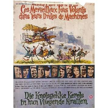 CES MERVEILLEUX FOUS VOLANTS Affiche de film- 35x55 cm. - 1965 - Stuart Whitman, Ken Annakin