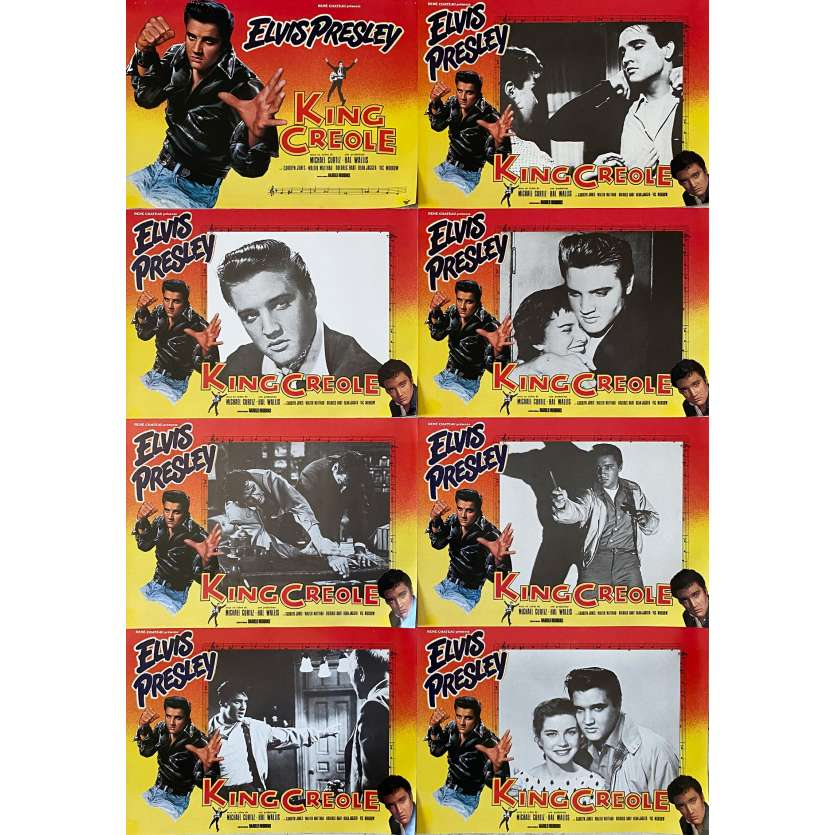 KING CREOLE Original Lobby Cards X8 - 9x12 in. - R1970 - Michael Curtiz, Elvis Presley