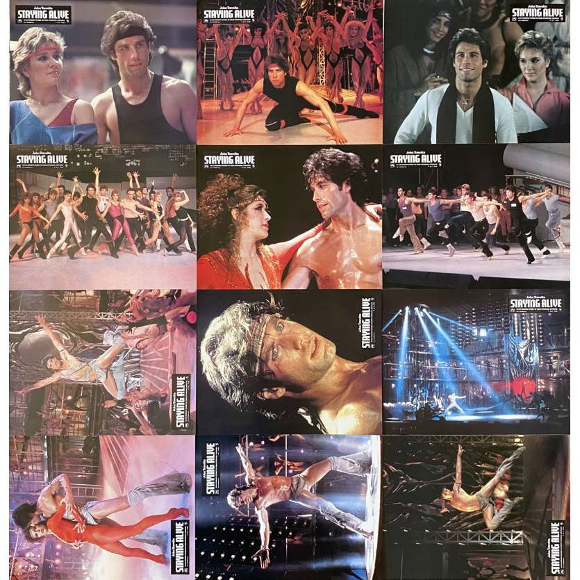 STAYING ALIVE Original Lobby Cards X12 - 9x12 in. - 1983 - Sylvester Stallone, John Travolta