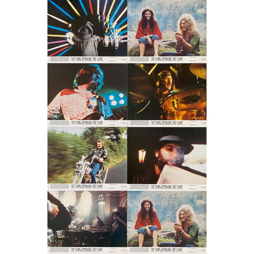 THE SONG REMAINS THE SAME Original Lobby Cards X8 - 9x12 in. - 1976 - Led Zeppelin, Robert Plant, Jimmy Page
