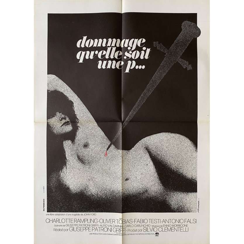 TIS PITY SHE'S A WHORE Original Movie Poster- 23x32 in. - 1971 - Giuseppe Patroni Griffi, Charlotte Rampling