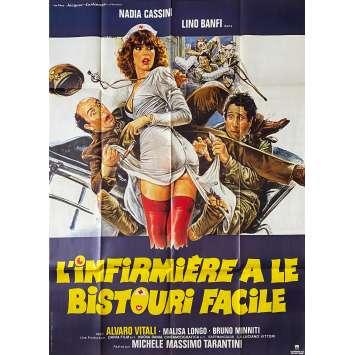 L'INFIRMIERE A LE BISTOURI FACILE Affiche de film- 120x160 cm. - 1980 - Nadia Cassini, Michele Massimo Tarantini
