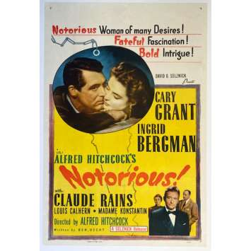 """NOTORIOUS 1sh Movie Poster - 27""""x41"""" - 1946/R1954 - Alferd Hitchcock, Cary Grant"""