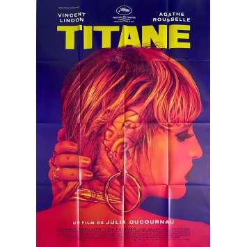 TITANE Affiche de film Pré-Cannes - 120x160 cm. - 2021 - Vincent Lindon, Agathe Rousselle, Julia Ducournau