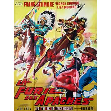 APACHE FURY Original Movie Poster LITHO - 47x63 in. - 1964 - José María Elorrieta, Frank Latimore