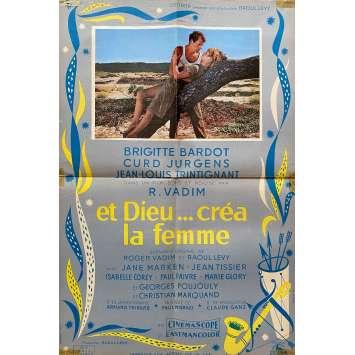 AND GOD CREATED WOMAN Original Movie Poster- 15x21 in. - 1956 - Roger Vadim, Brigitte Bardot