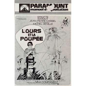 L'OURS ET LA POUPEE Dossier de presse 4p - 13x18 cm. - 1970 - Brigitte Bardot, Jean-Pierre Cassel, Michel Deville