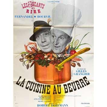 LA CUISINE AU BEURRE Original Movie Poster- 47x63 in. - 1963 - Gilles Grangier, Bourvil, Fernandel