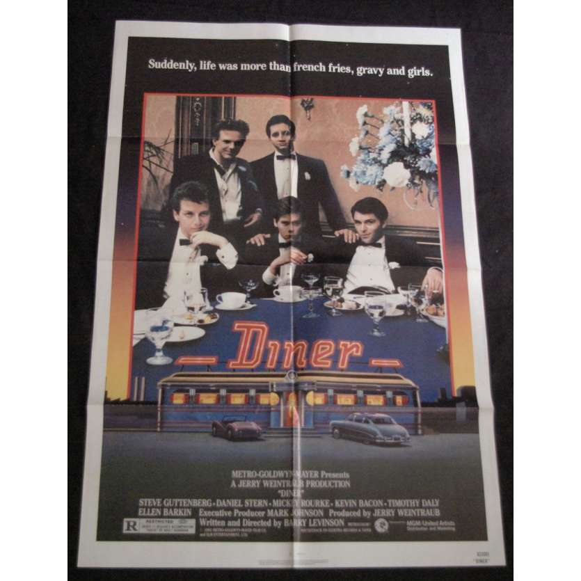 DINER Affiche US '85 Mickey Rourke, Kevin Bacon, Guttenberg Vintage Movie Poster