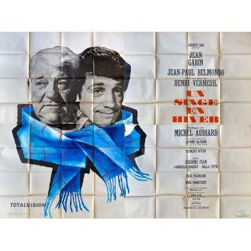 A MONKEY IN WINTER Original Movie Poster- 94x126 in. - 1962 - Henri Verneuil, Jean-Paul Belmondo