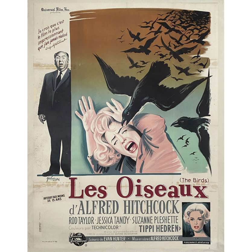 THE BIRDS French Movie poster - 1963 - Grinsson art of Alfred Hitchcock, Hedren, rare!