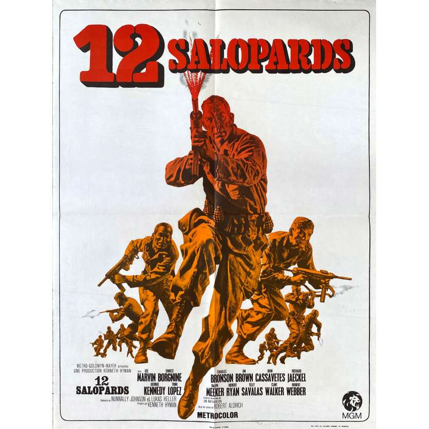 DIRTY DOZEN French Movie Poster - 1967 - art of Charles Bronson, Jim Brown & Lee Marvin charging!