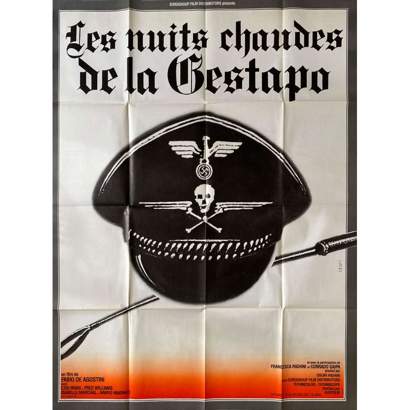 LES NUITS CHAUDES DE LA GESTAPO Affiche de film- 120x160 cm. - 1976 - Helmut Berger, Tinto Brass