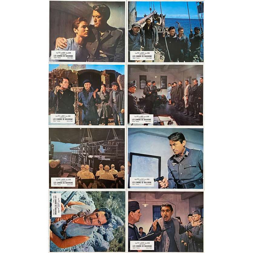 THE GUNS OF NAVARONE Original Lobby Cards x8 - 9x12 in. - 1961 - J. Lee Thompson, Gregory Peck, Anthony Quinn