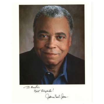 JAMES EARL JONES signed color 8x10 REPRO still '90s head & shoulders smiling portrait!