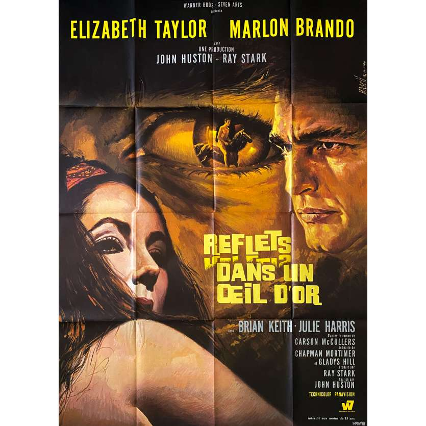 REFLECTIONS IN A GOLDEN EYE Original Movie Poster- 47x63 in. - 1967 - John Huston, Elizabeth Taylor, Marlon Brando