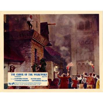 CURSE OF THE WEREWOLF color English FOH LC '61 Hammer, villagers stare up at Oliver Reed!