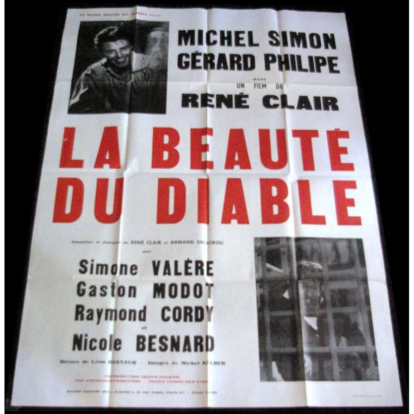 BEAUTE DU DIABLE Affiche 120x160 '60 Michel Simon Gérard Philippe Movie Poster