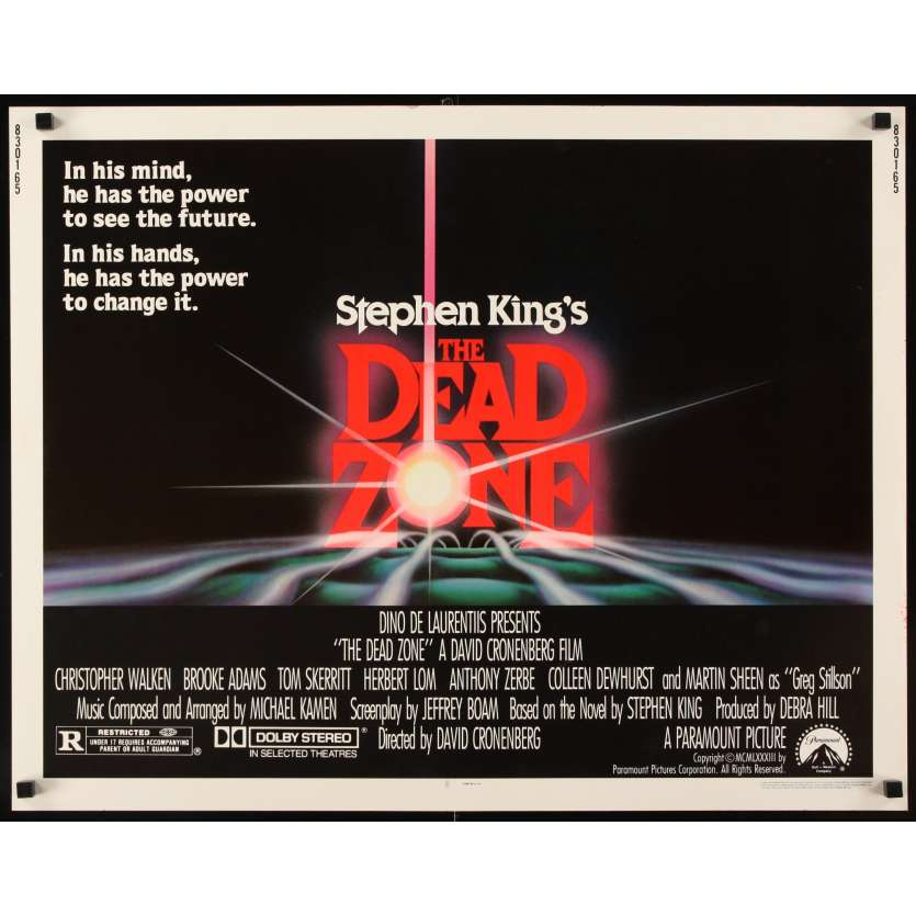DEAD ZONE Movie Poster 1/2sh '83 David Cronenberg, Stephen King,