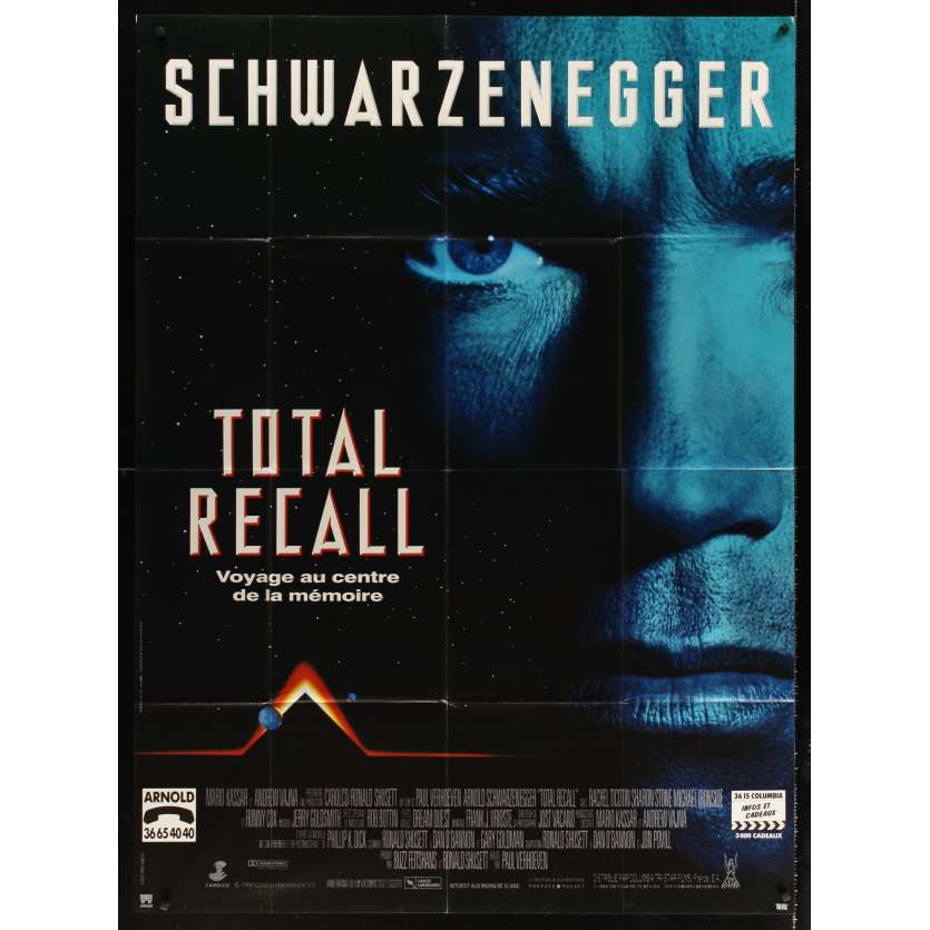 TOTAL RECALL French movie poster '90 Paul Verhoeven, Arnold Schwarzenegger!