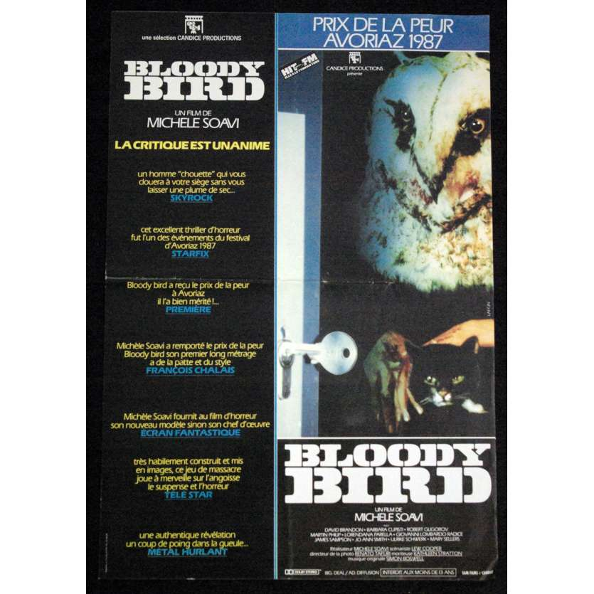 BLOODY BIRD French Movie Poster '86 15x23 Horror Soavi
