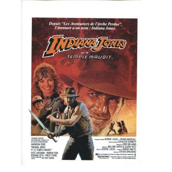 INDIANA JONES ET LE TEMPLE MAUDIT Rare Synopsis original '84 Steven Spielberg Movie Flyer