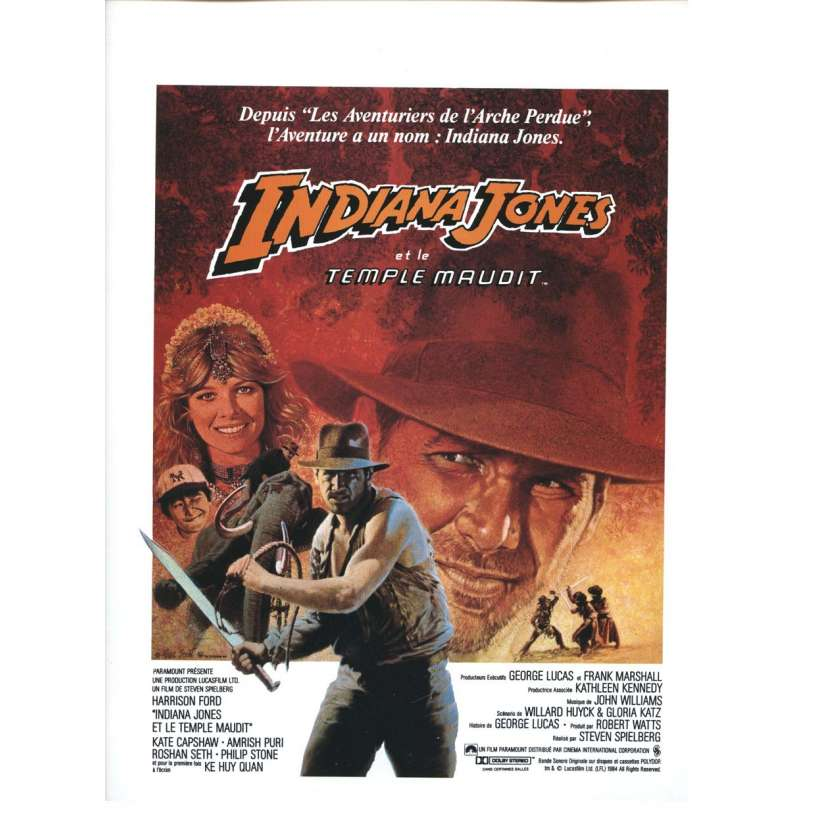 INDIANA JONES ET LE TEMPLE MAUDIT Rare affichette originale '84 Steven Spielberg Movie Flyer