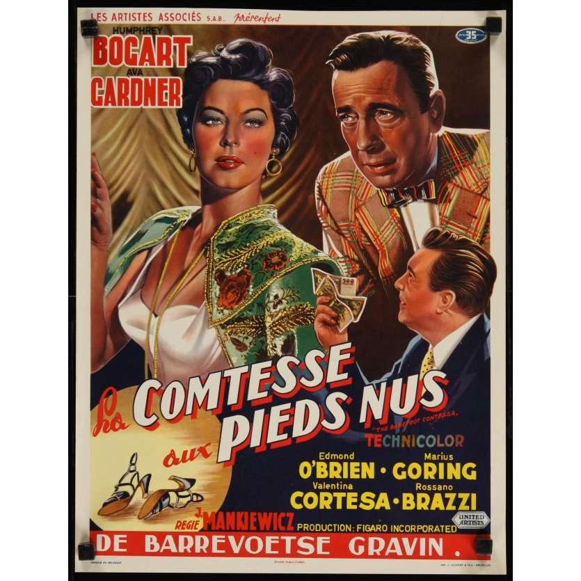 BAREFOOT CONTESSA Belgian Movie Poster '54 Humphrey Bogart, Ava Gardner