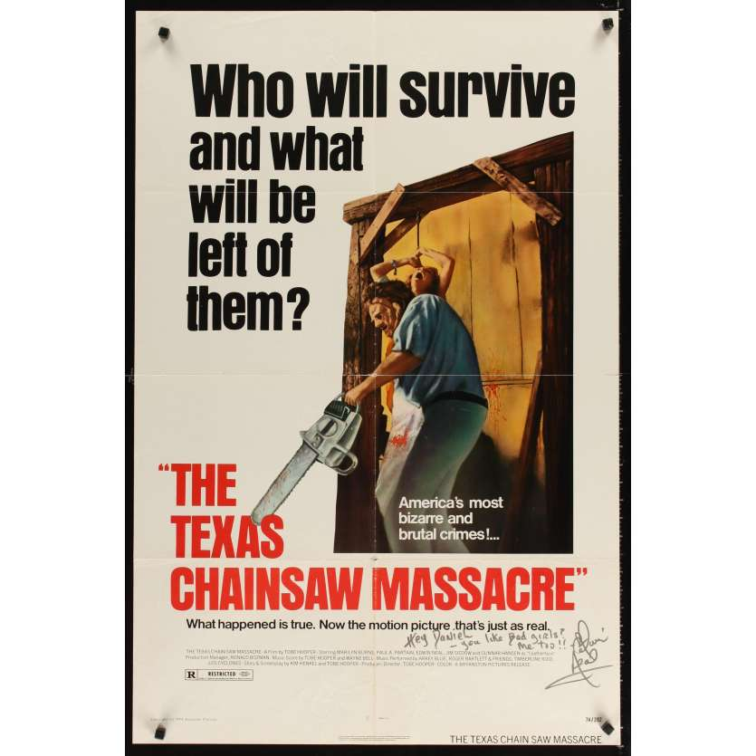 MASSACRE A LA TRONÇONNEUSE Affiche Originale US SIGNEE '74 Texas Chainsaw Signed Poster