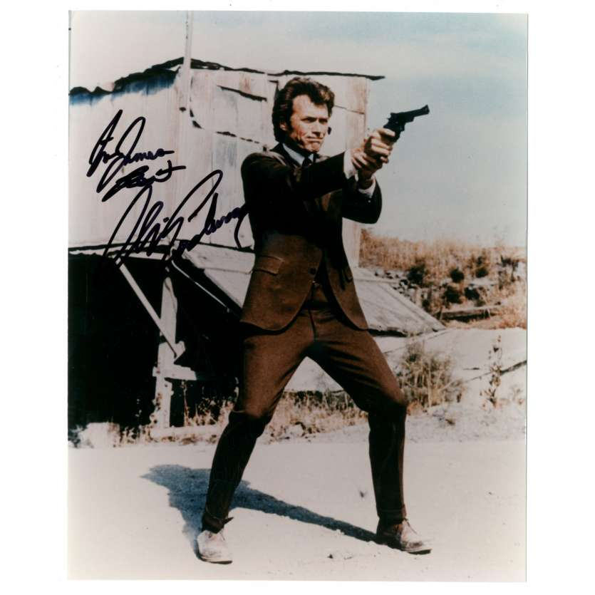 CLINT EASTWOOD signed color 8x10 REPRO still '80s classic Dirty Harry portrait pointing gun!