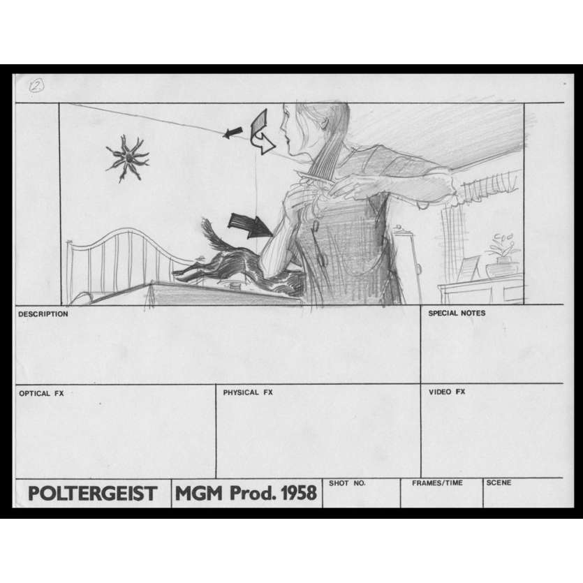 POLTERGEIST Planche de Storyboard originale N1 USA '82 Original drawing sketch
