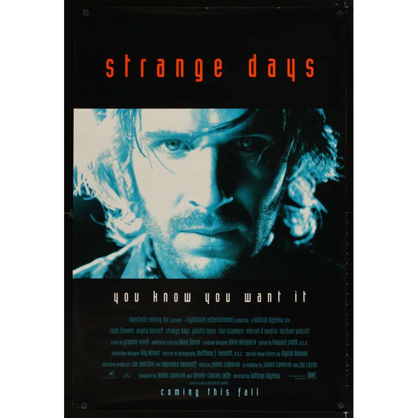 STRANGE DAYS advance movie poster 1sh '95 Ralph Fiennes, Katrin Bigelow