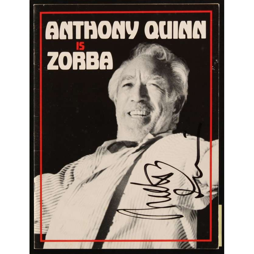ZORBA signed stage play souvenir program book '83 by BOTH Anthony Quinn AND Lila Kedrova!