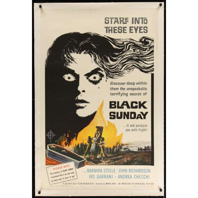 BLACK SUNDAY linen 1sh '61 Bava, deep in this demon's eyes is a hidden unspeakable secret!