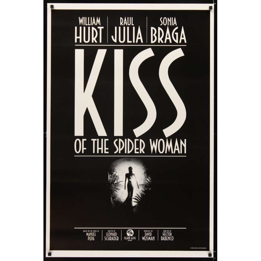 KISS OF THE SPIDER WOMAN Movie Poster '85 Sonia Braga, William Hurt, Raul Julia