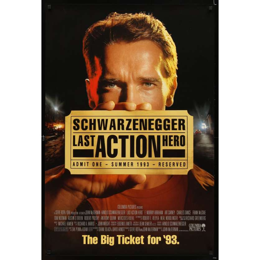 LAST ACTION HERO Affiche US préventive '93 Arnold Schwarzenegger movie poster