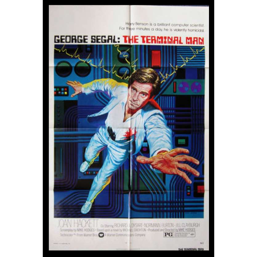 TERMINAL MAN Affiche US '74 George Segal, Hodges, Crichton movie poster