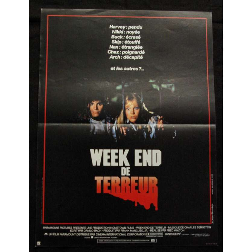 'WEEK-END DE TERREUR Affiche 40x60 FR ''86 Horror Movie Poster'