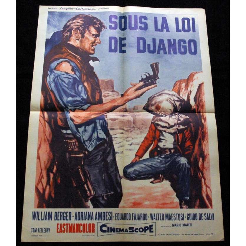 'SOUS LA LOI DE DJANGO Affiche 60x80 FR ''67 Western Spaghetti Movie Poster'