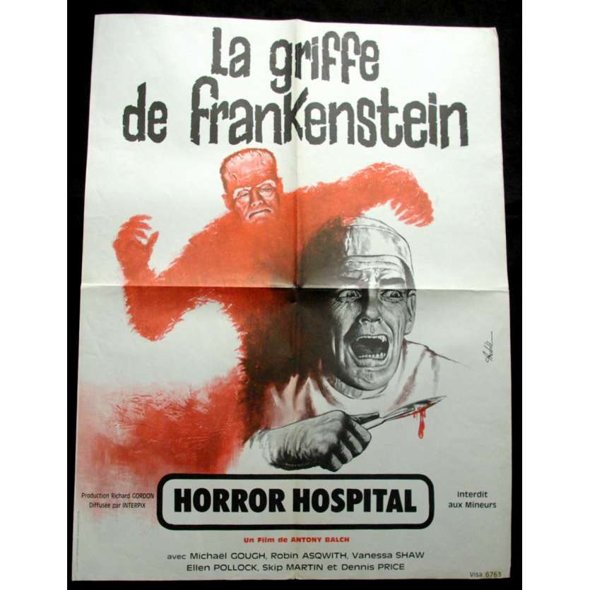 'LA GRIFFE DE FRANKENSTEIN Affiche 60x80 FR ''73 Horror Movie Poster'