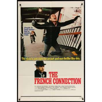 FRENCH CONNECTION Movie Poster '71 Gene Hackman in movie chase climax, directed by William Friedkin!