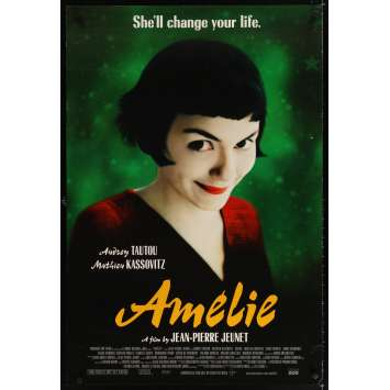 AMELIE 1sh '01 Jean-Pierre Jeunet, great close up of Audrey Tautou!
