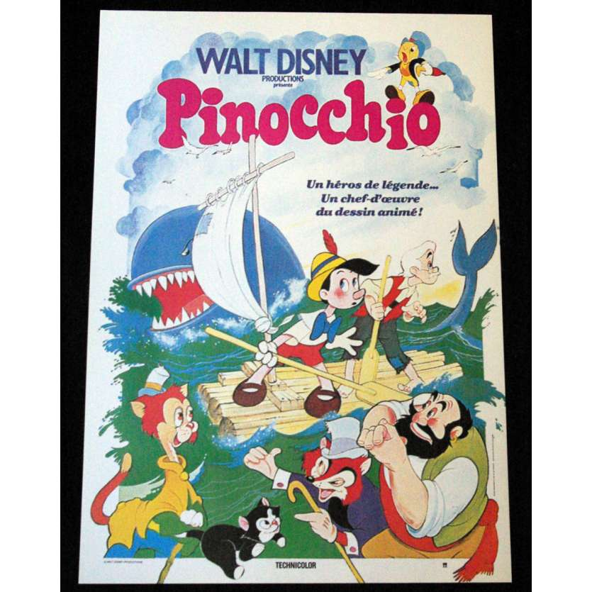 PINOCCHIO French Movie Poster 15x21 R80's Walt Disney Classic