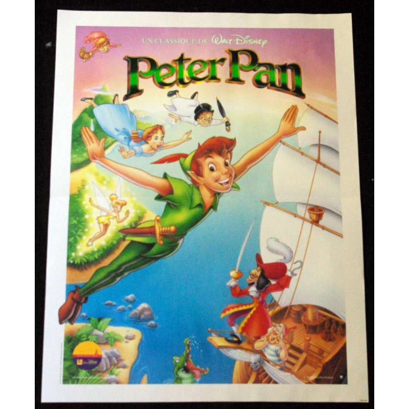 PETER PAN French Movie Poster 15x21 R90 Walt Disney Classic