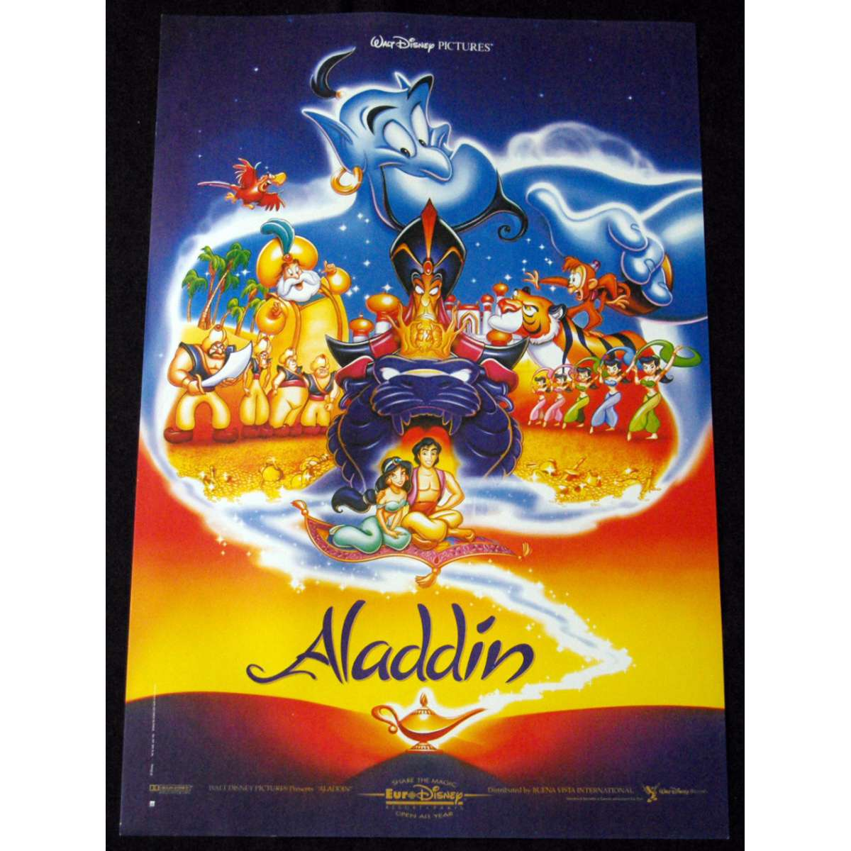 Aladdin Affiche De Film 40x60 Bleue 1992 Walt Disney