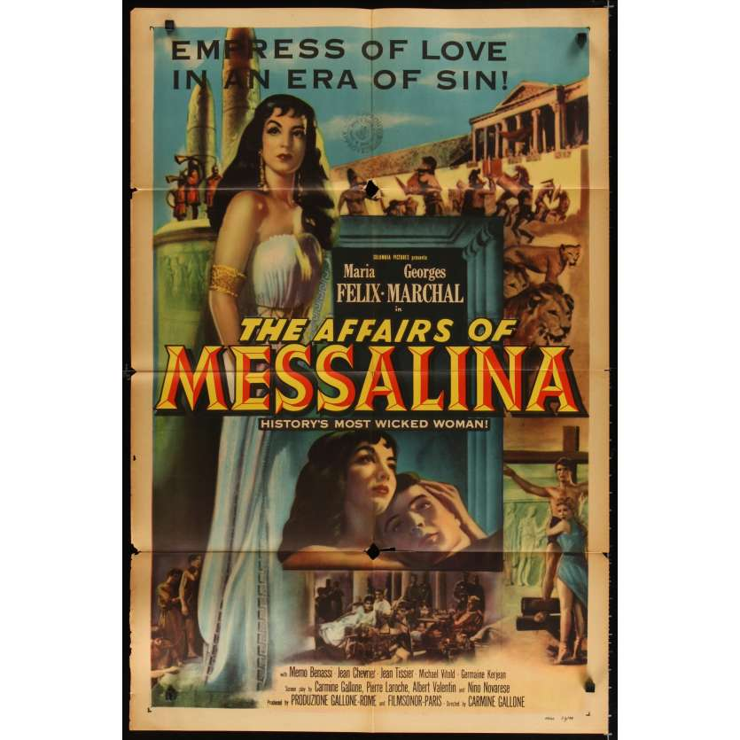MESSALINE Affiche Originale US '54 Maria Felix Movie poster