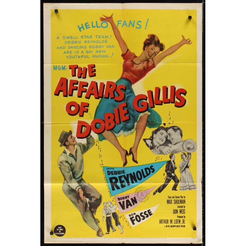 AFFAIRS OF DOBBIE GILLIS Movie Poster '53 Debbie Reynolds, Bob Fosse