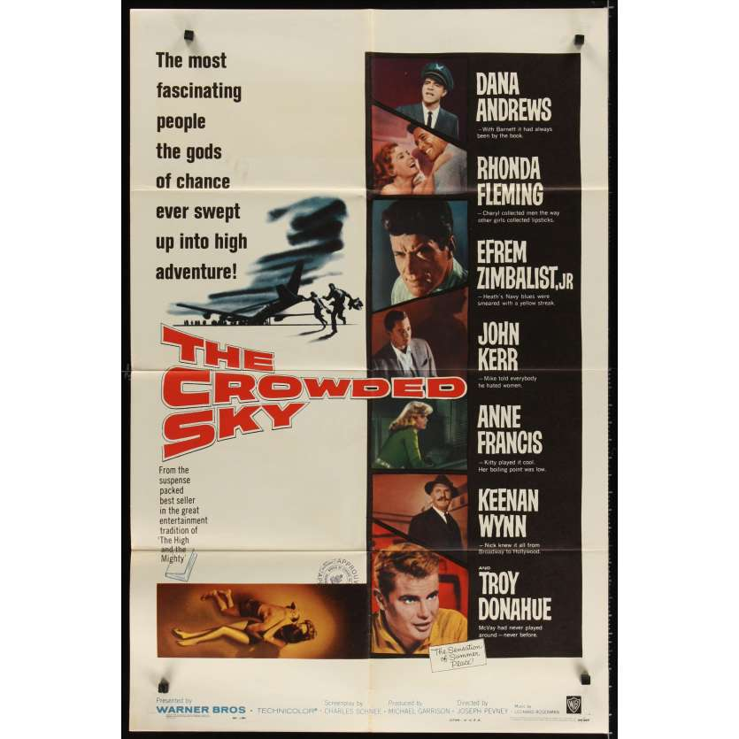 CROWDED SKY Affiche Originale US '60 Dana Andrews Movie poster