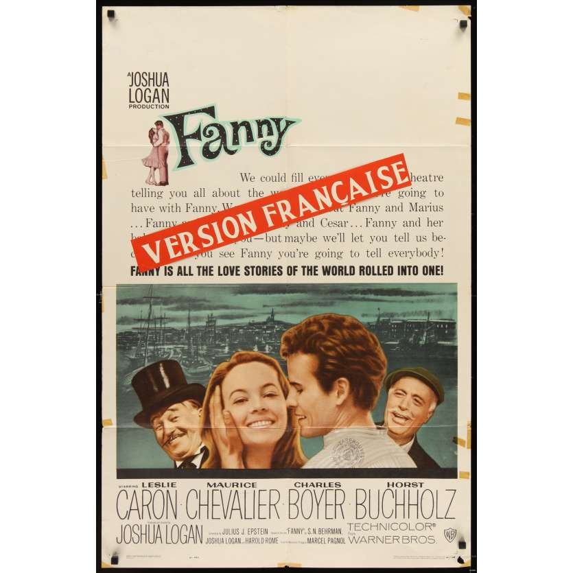 FANNY Movie Poster '61 Leslie Caron, Charles Boyer