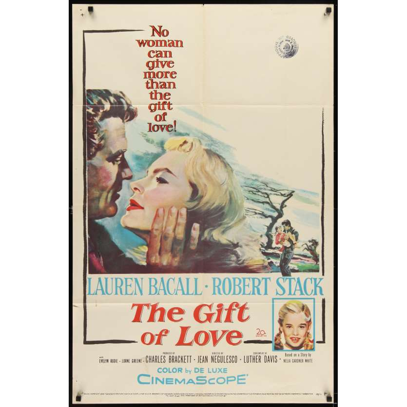 GIFT OF LOVE Affiche originale US '58 Lauren Bacall Movie poster